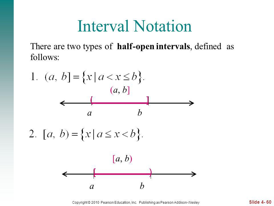 Interval Notation There are two types of half-open intervals, defined as follows: (a, b] a b.